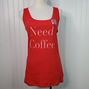 Need Coffee Graphic Stretch Ribbed Tanktop